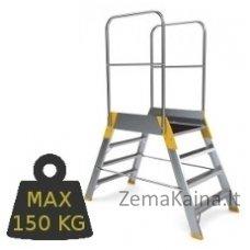 Kopėčios aliuminės, su darbine aikštele:61x78cm, dvipusės FORTE