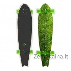 "Longboardas Street Surfing Fishtail – The Leaf 42"", kinų klevas, ABEC-7 - Green Truck"