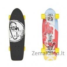 "Mini longboardas Fish Old School Cruiser Szczupak 26"", kanados klevas, ABEC-11 - Silver-Yellow"