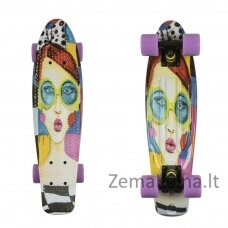 Mini riedlentė Penny Board ArtFish Face ABEC11 - Black-Violet