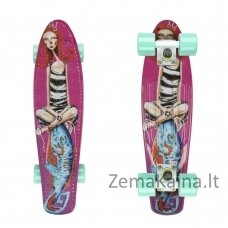 "Mini riedlentė Penny Board ArtFish Girl 22"" ABEC11 - White-Green"