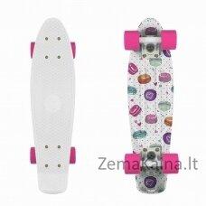 """Mini riedlentė Penny Board Fish Print 22"""" ABEC11 - Macarons-White-Pink"""