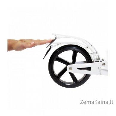Paspirtukas URBAN su amortizatoriais bei stabdžiais (dideli ratai), baltas 4