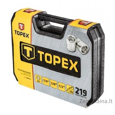 """Raktų galvučių rinkinys Topex 1/2"""", 3/8, 1/4""""  219 vnt 2"""