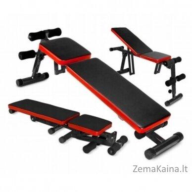 Reguliuojamas treniruočių suolelis, juoda/ raudona