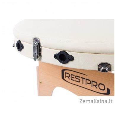 Sulankstomas masažo stalas Restpro Classic Oval 3/Cream +  Dovana buteliukas aliejui su krepšeliu 7