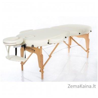 Sulankstomas masažo stalas Restpro Vip Oval 3/Cream + DOVANA medvilninis užtiesalas 2