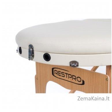Sulankstomas masažo stalas Restpro Vip Oval 3/Cream + DOVANA medvilninis užtiesalas 7