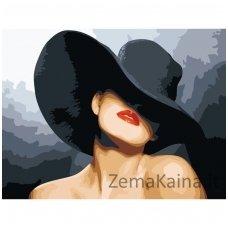 Tapymas pagal skaičius: Moteris su juoda skrybele (50x40cm, G054)