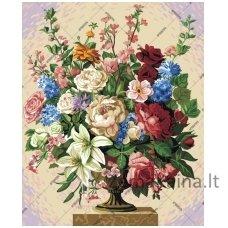 Tapymas pagal skaičius: Gėlės  (50x40cm T50400244)