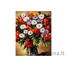 Tapymas pagal skaičius Gėlės B042