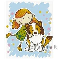 Tapymas pagal skaičius: Mergaitė ir šuo (16.5x13cm T16130106)