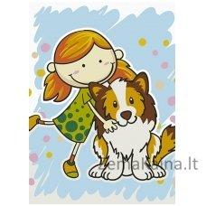 Tapymas pagal skaičius: Mergaitė ir šuo (A4 29,7x21cm TA40118)