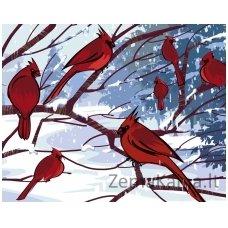 Tapymas pagal skaičius: Raudonieji kardinolai (50x40cm T40500030)