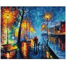 Tapymas pagal skaičius: Street under the Rain - L.Afremov (50x40cm T40500157)