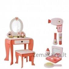 Vaikiškas medinis grožio staliukas + priedai
