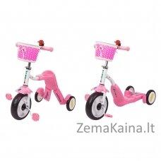Vaikiškas triratis 2in1 paspirtukas - dviratukas Worker Blagrie - Pink