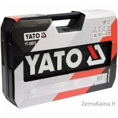 """YATO 128 vnt. Galvučių ir raktų komplektas 1/4"""" + 3/8"""" + 1/2"""" 4"""