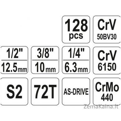 """YATO 128 vnt. Galvučių ir raktų komplektas 1/4"""" + 3/8"""" + 1/2"""" 7"""