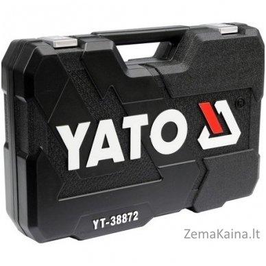 """YATO 128 vnt. Galvučių ir raktų komplektas 1/4"""" + 3/8"""" + 1/2"""" 5"""