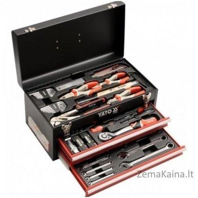 YATO 80 vnt. Įrankių rinkinys su metaline dėže ir stalčiais