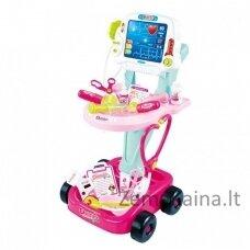 Žaislinis daktaro profesijos rinkinukas vaikams rožinis